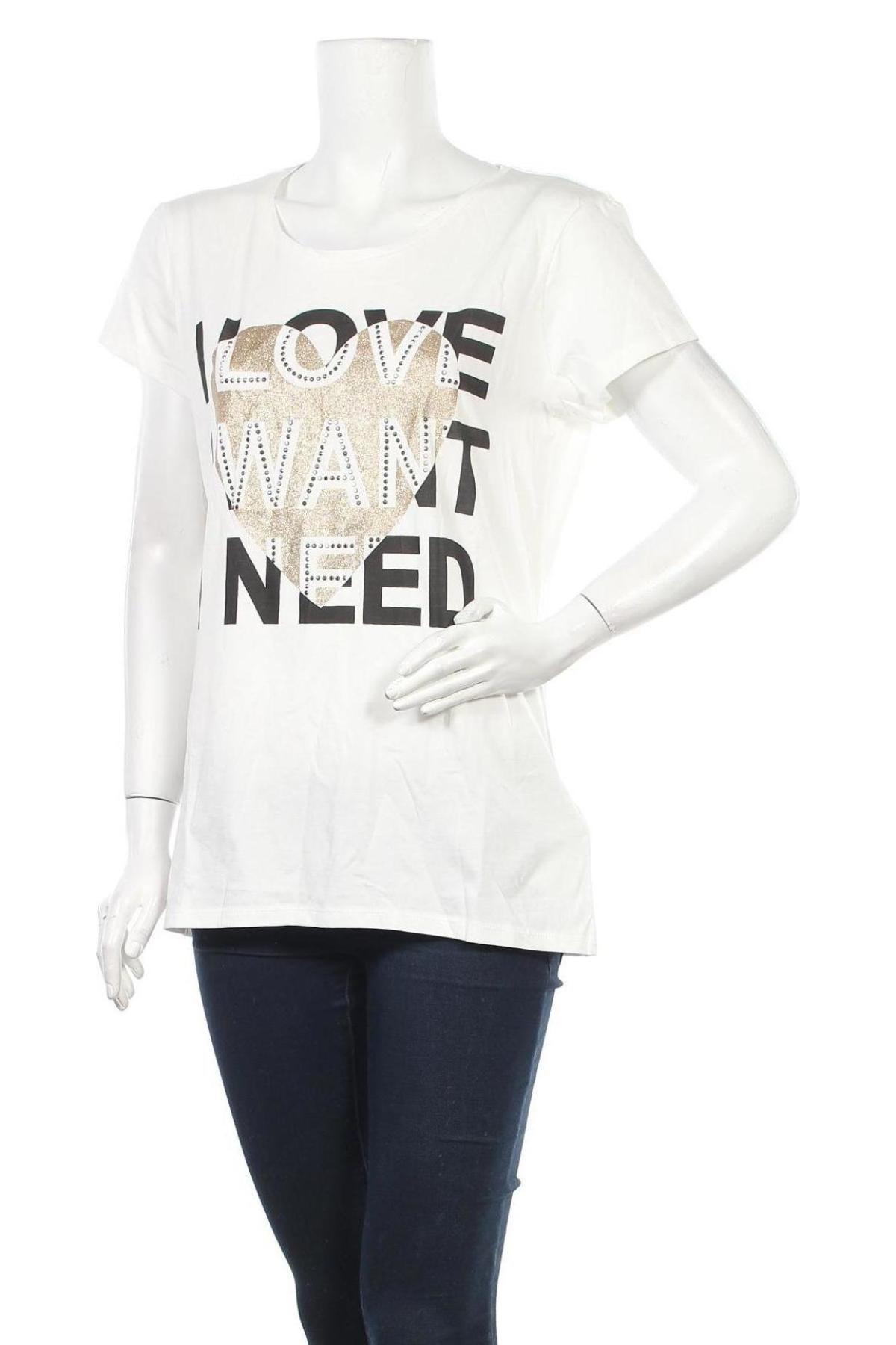 Дамска тениска Guess, Размер XL, Цвят Бял, Памук, Цена 51,00лв.
