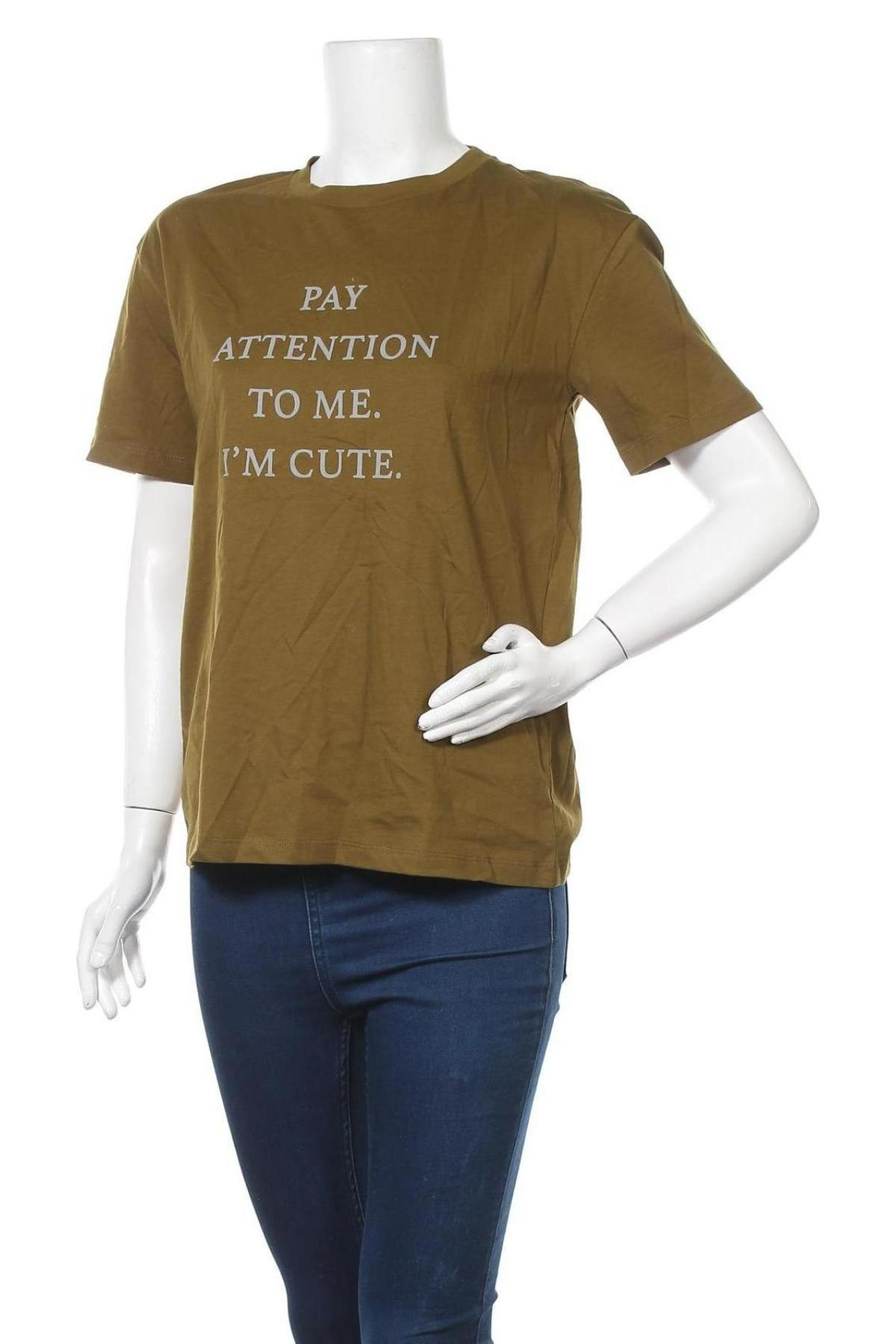 Дамска тениска Vero Moda, Размер S, Цвят Зелен, Памук, Цена 11,60лв.