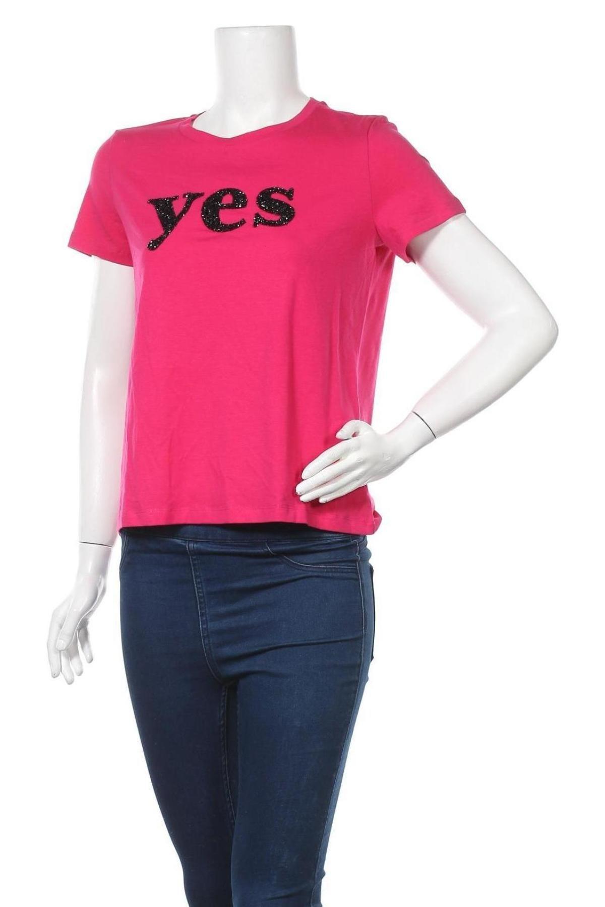 Дамска тениска Vero Moda, Размер S, Цвят Розов, 48% памук, 48% модал, 4% еластан, Цена 22,62лв.
